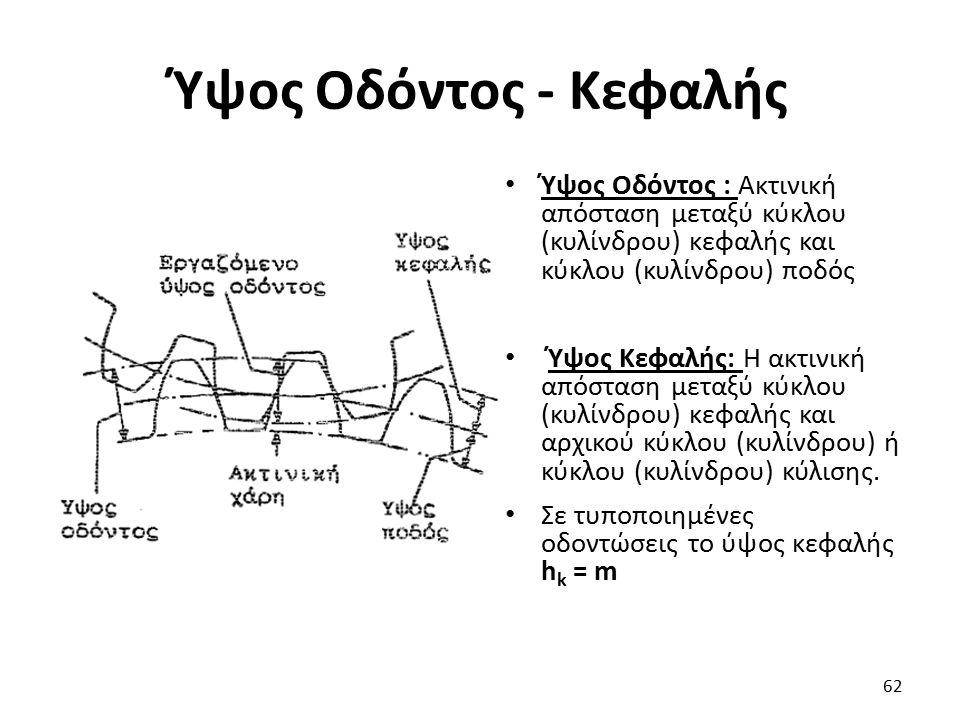 Ύψος Οδόντος - Κεφαλής Ύψος Οδόντος : Ακτινική απόσταση μεταξύ κύκλου (κυλίνδρου) κεφαλής και κύκλου (κυλίνδρου) ποδός Ύψος Κεφαλής: Η ακτινική απόστα