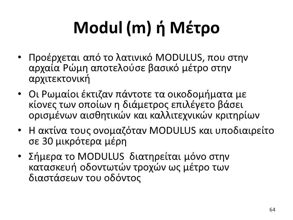 Modul (m) ή Μέτρο Προέρχεται από το λατινικό MODULUS, που στην αρχαία Ρώμη αποτελούσε βασικό μέτρο στην αρχιτεκτονική Οι Ρωμαίοι έκτιζαν πάντοτε τα οι