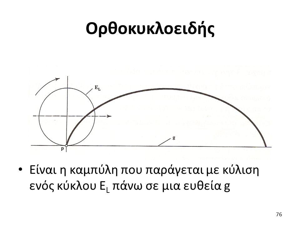 Ορθοκυκλοειδής Είναι η καμπύλη που παράγεται με κύλιση ενός κύκλου Ε L πάνω σε μια ευθεία g 76