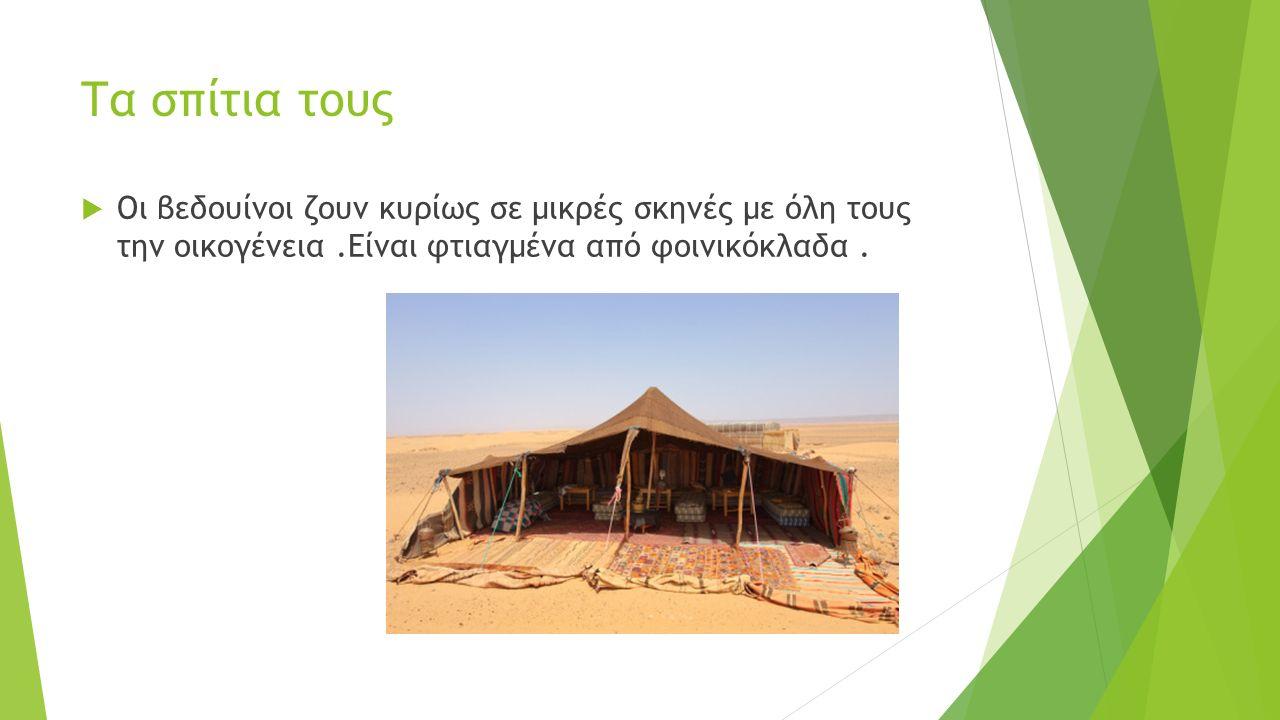 Τα σπίτια τους  Οι βεδουίνοι ζουν κυρίως σε μικρές σκηνές με όλη τους την οικογένεια.Είναι φτιαγμένα από φοινικόκλαδα. Οι βεδουίνοι ζουν κυρίως σε μι