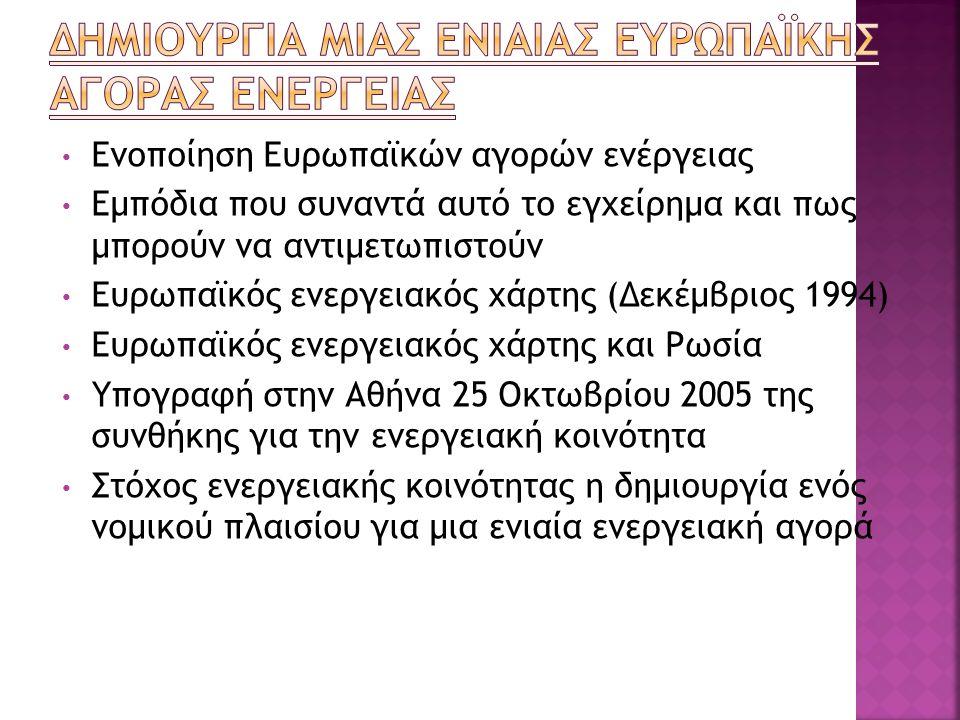 Ενοποίηση Ευρωπαϊκών αγορών ενέργειας Εμπόδια που συναντά αυτό το εγχείρημα και πως μπορούν να αντιμετωπιστούν Ευρωπαϊκός ενεργειακός χάρτης (Δεκέμβριος 1994) Ευρωπαϊκός ενεργειακός χάρτης και Ρωσία Υπογραφή στην Αθήνα 25 Οκτωβρίου 2005 της συνθήκης για την ενεργειακή κοινότητα Στόχος ενεργειακής κοινότητας η δημιουργία ενός νομικού πλαισίου για μια ενιαία ενεργειακή αγορά
