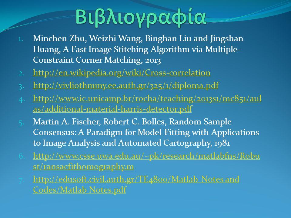 1. Minchen Zhu, Weizhi Wang, Binghan Liu and Jingshan Huang, A Fast Image Stitching Algorithm via Multiple- Constraint Corner Matching, 2013 2. http:/
