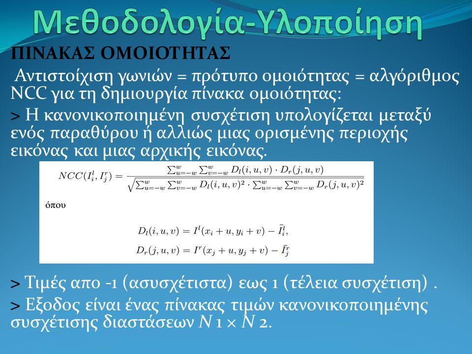 ΠΙΝΑΚΑΣ ΟΜΟΙΟΤΗΤΑΣ Αντιστοίχιση γωνιών = πρότυπο ομοιότητας = αλγόριθμος NCC για τη δημιουργία πίνακα ομοιότητας: > Η κανονικοποιημένη συσχέτιση υπολογίζεται μεταξύ ενός παραθύρου ή αλλιώς μιας ορισμένης περιοχής εικόνας και μιας αρχικής εικόνας.