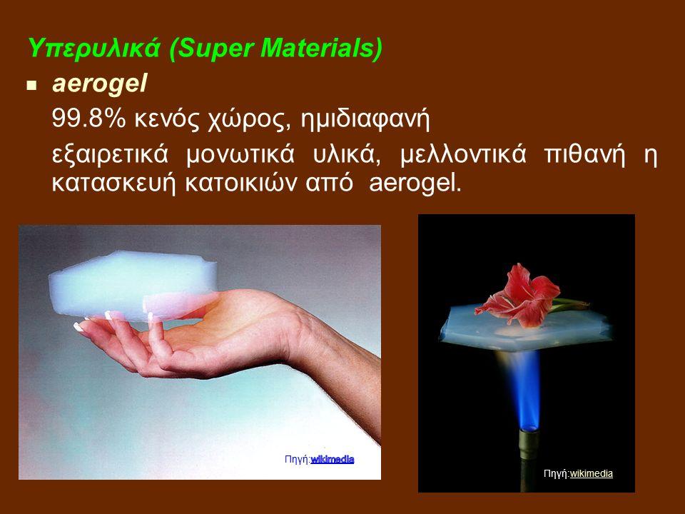 Υπερυλικά (Super Materials) aerogel 99.8% κενός χώρος, ημιδιαφανή εξαιρετικά μονωτικά υλικά, μελλοντικά πιθανή η κατασκευή κατοικιών από aerogel.