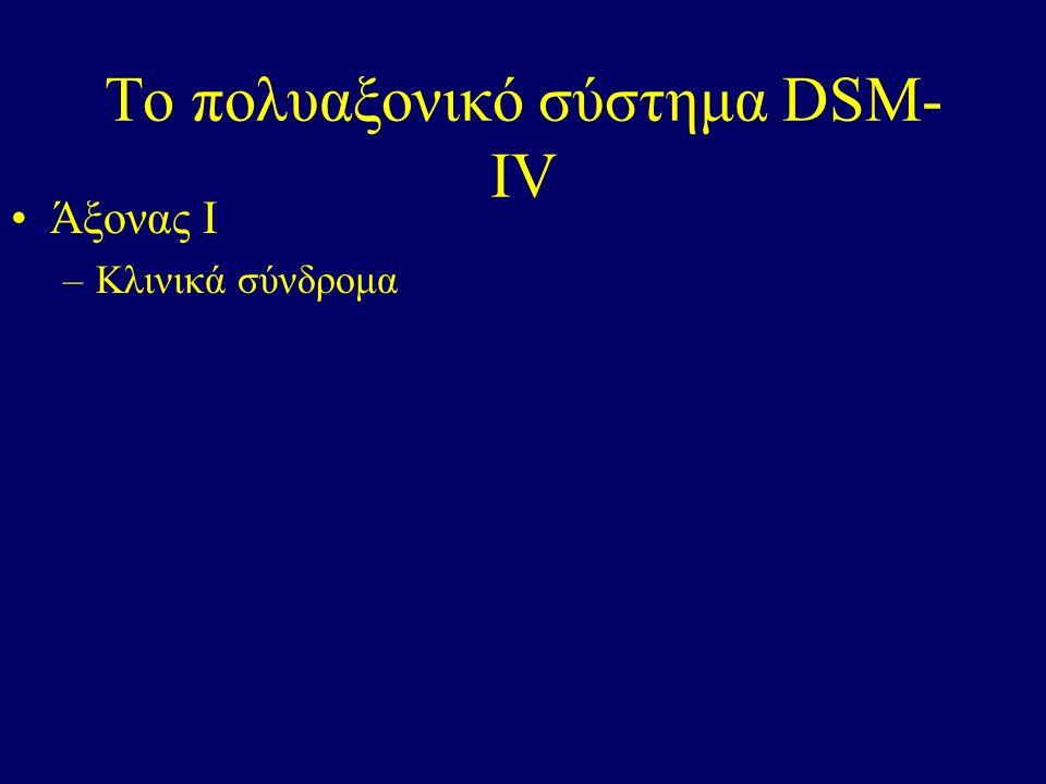Το πολυαξονικό σύστημα DSM- IV Άξονας Ι –Κλινικά σύνδρομα