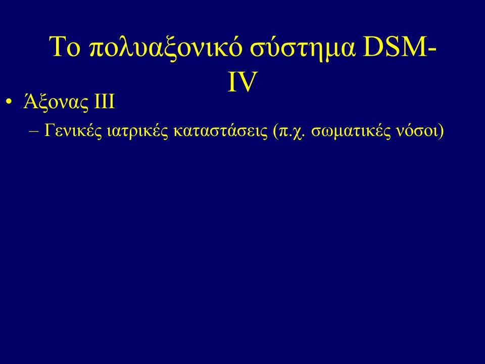 Το πολυαξονικό σύστημα DSM- IV Άξονας ΙΙΙ –Γενικές ιατρικές καταστάσεις (π.χ. σωματικές νόσοι)