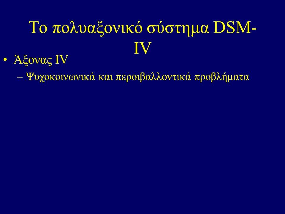 Το πολυαξονικό σύστημα DSM- IV Άξονας ΙV –Ψυχοκοινωνικά και περοιβαλλοντικά προβλήματα