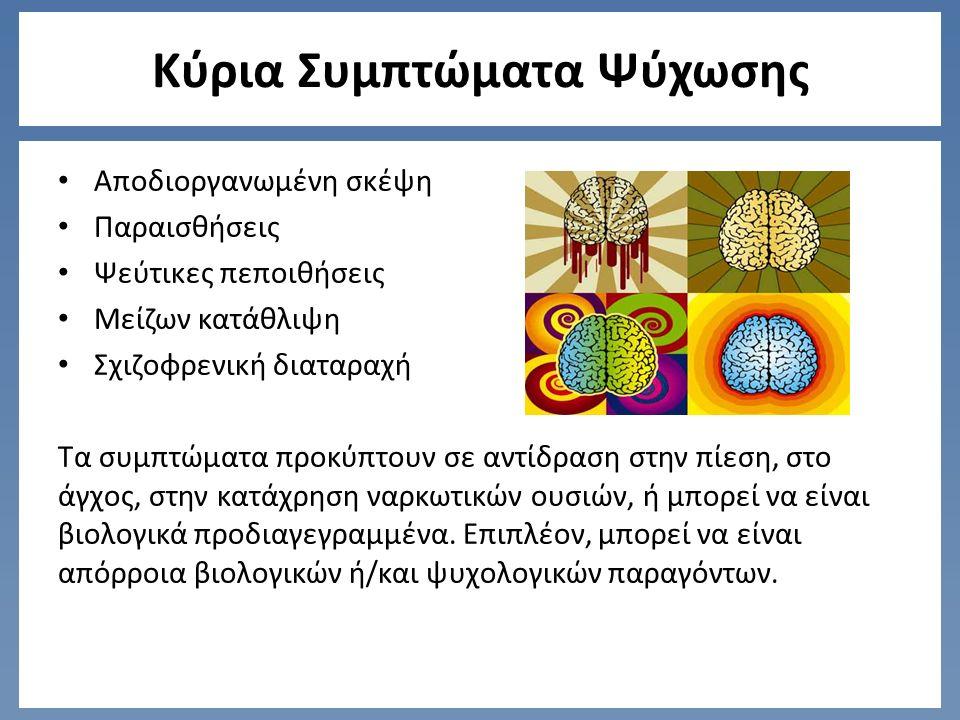 Κύρια Συμπτώματα Ψύχωσης Αποδιοργανωμένη σκέψη Παραισθήσεις Ψεύτικες πεποιθήσεις Μείζων κατάθλιψη Σχιζοφρενική διαταραχή Τα συμπτώματα προκύπτουν σε αντίδραση στην πίεση, στο άγχος, στην κατάχρηση ναρκωτικών ουσιών, ή μπορεί να είναι βιολογικά προδιαγεγραμμένα.