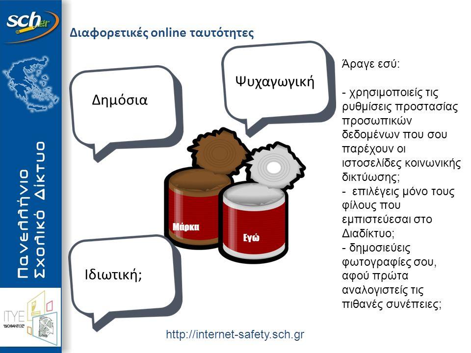 http://internet-safety.sch.gr Διαφορετικές online ταυτότητες Μάρκα Εγώ Δημόσια Ιδιωτική; Ψυχαγωγική Άραγε εσύ: - χρησιμοποιείς τις ρυθμίσεις προστασίας προσωπικών δεδομένων που σου παρέχουν οι ιστοσελίδες κοινωνικής δικτύωσης; - επιλέγεις μόνο τους φίλους που εμπιστεύεσαι στο Διαδίκτυο; - δημοσιεύεις φωτογραφίες σου, αφού πρώτα αναλογιστείς τις πιθανές συνέπειες;