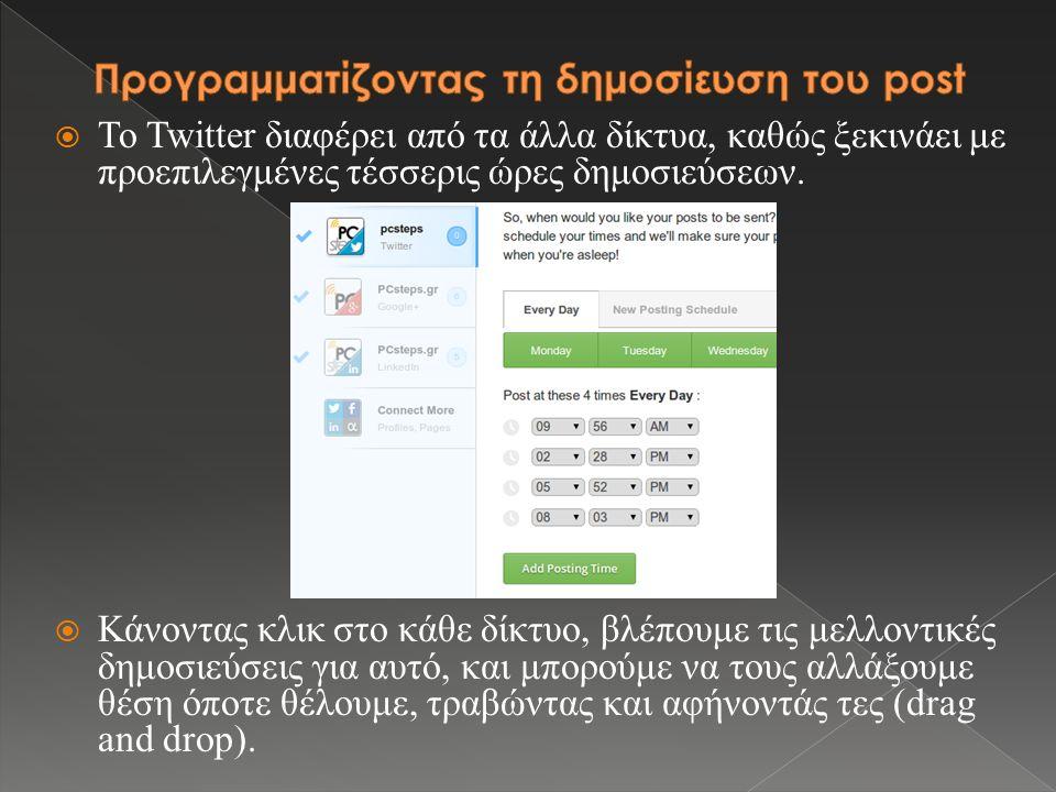  Το Twitter διαφέρει από τα άλλα δίκτυα, καθώς ξεκινάει με προεπιλεγμένες τέσσερις ώρες δημοσιεύσεων.  Κάνοντας κλικ στο κάθε δίκτυο, βλέπουμε τις μ