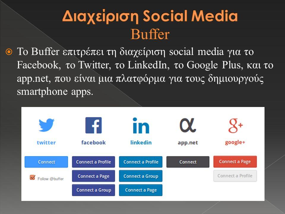  Το Buffer επιτρέπει τη διαχείριση social media για το Facebook, το Twitter, το LinkedIn, το Google Plus, και το app.net, που είναι μια πλατφόρμα για τους δημιουργούς smartphone apps.
