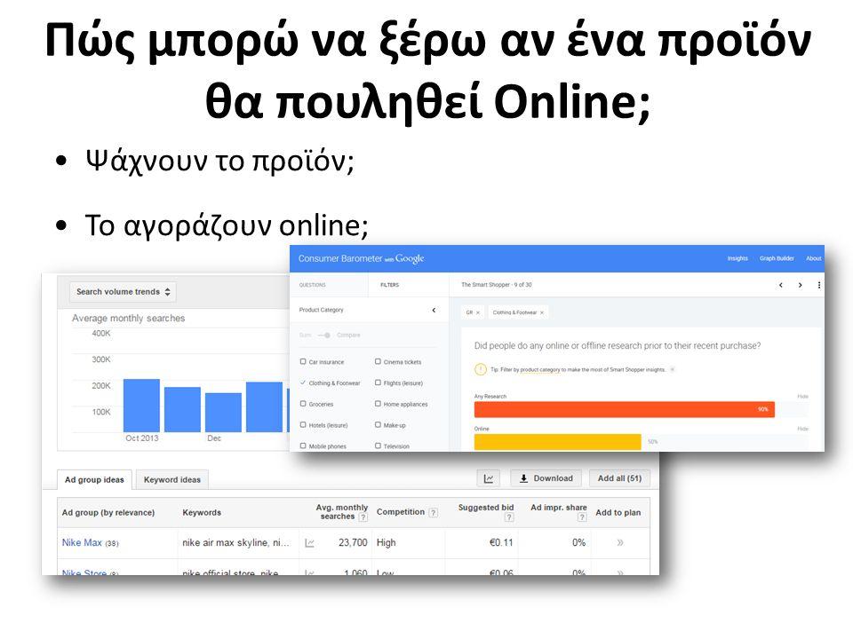 Πώς μπορώ να ξέρω αν ένα προϊόν θα πουληθεί Online; Ψάχνουν το προϊόν; Το αγοράζουν online;