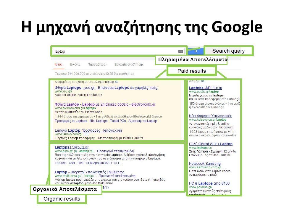 Πληρωμένα Αποτελέσματα Οργανικά Αποτελέσματα Η μηχανή αναζήτησης της Google