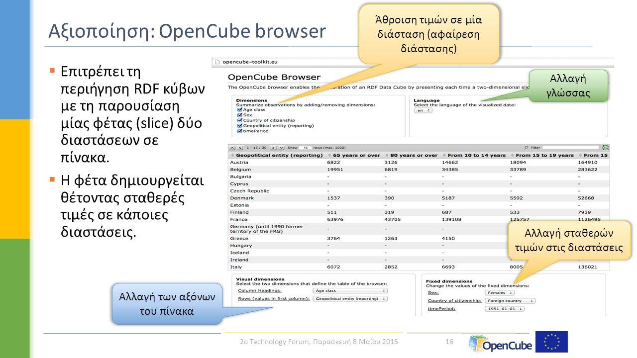 16 Αξιοποίηση: OpenCube browser Άθροιση τιμών σε μία διάσταση (αφαίρεση διάστασης) Αλλαγή των αξόνων του πίνακα Αλλαγή γλώσσας Αλλαγή σταθερών τιμών στις διαστάσεις  Επιτρέπει τη περιήγηση RDF κύβων με τη παρουσίαση μίας φέτας (slice) δύο διαστάσεων σε πίνακα.