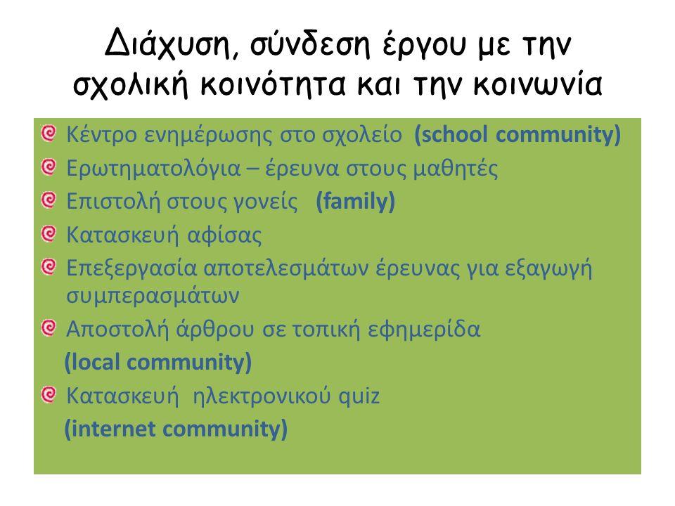 Διάχυση, σύνδεση έργου με την σχολική κοινότητα και την κοινωνία Κέντρο ενημέρωσης στο σχολείο (school community) Ερωτηματολόγια – έρευνα στους μαθητές Επιστολή στους γονείς (family) Κατασκευή αφίσας Επεξεργασία αποτελεσμάτων έρευνας για εξαγωγή συμπερασμάτων Αποστολή άρθρου σε τοπική εφημερίδα (local community) Κατασκευή ηλεκτρονικού quiz (internet community)