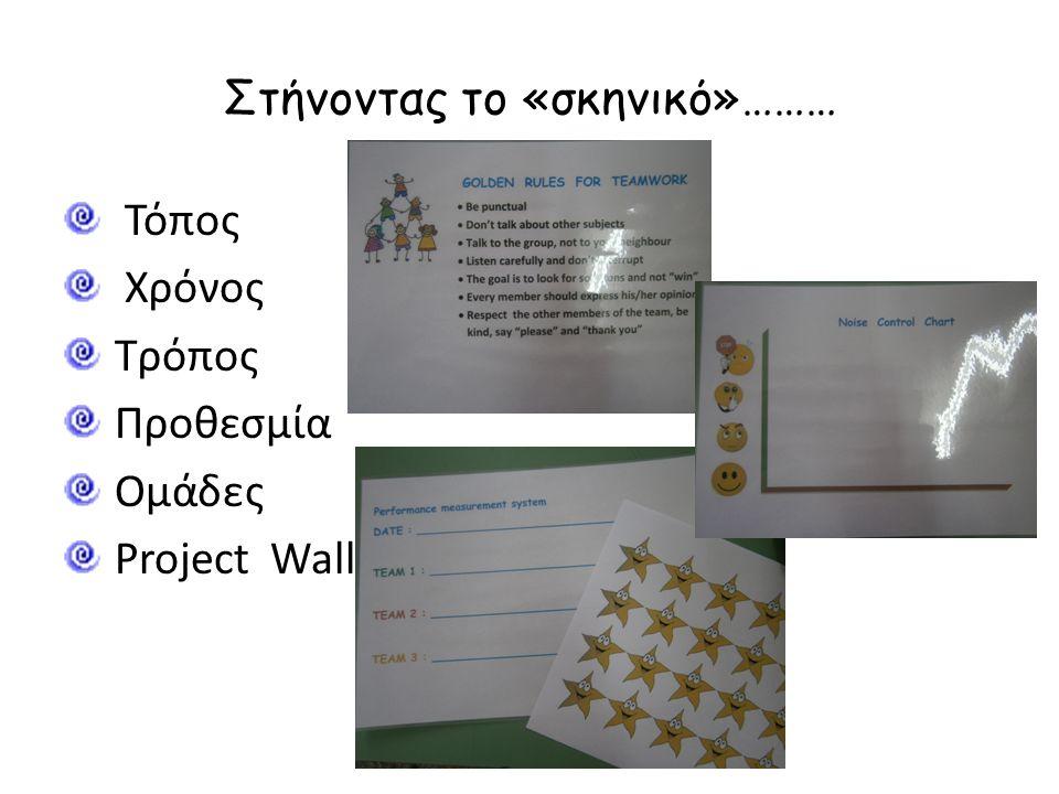 Στήνοντας το «σκηνικό»……… Τόπος Χρόνος Τρόπος Προθεσμία Ομάδες Project Wall