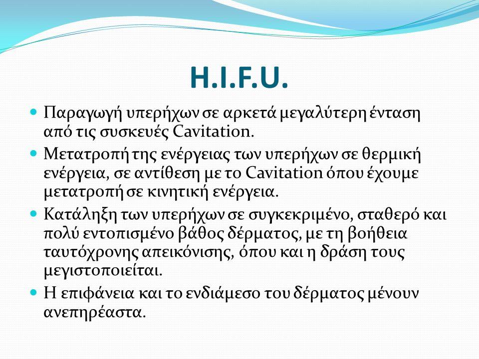 H.I.F.U. Παραγωγή υπερήχων σε αρκετά μεγαλύτερη ένταση από τις συσκευές Cavitation.