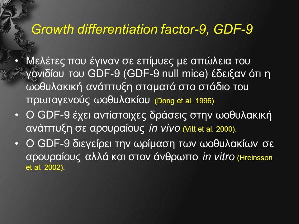 Growth differentiation factor-9, GDF-9 Μελέτες που έγιναν σε επίμυες με απώλεια του γονιδίου του GDF-9 (GDF-9 null mice) έδειξαν ότι η ωοθυλακική ανάπτυξη σταματά στο στάδιο του πρωτογενούς ωοθυλακίου (Dong et al.