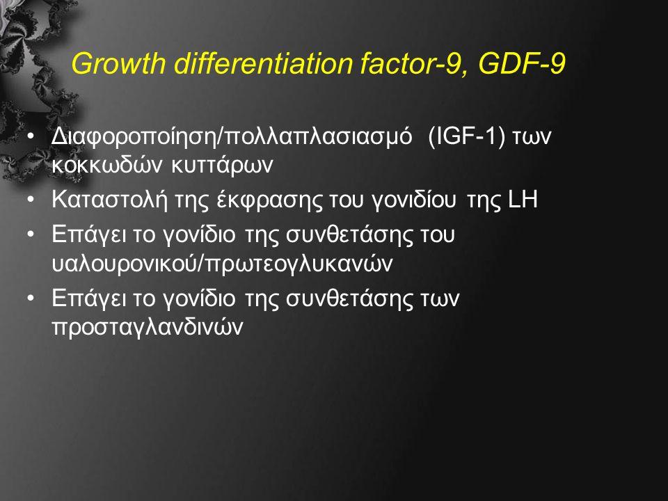 Growth differentiation factor-9, GDF-9 Διαφοροποίηση/πολλαπλασιασμό (IGF-1) των κοκκωδών κυττάρων Καταστολή της έκφρασης του γονιδίου της LH Επάγει το γονίδιο της συνθετάσης του υαλουρονικού/πρωτεογλυκανών Επάγει το γονίδιο της συνθετάσης των προσταγλανδινών