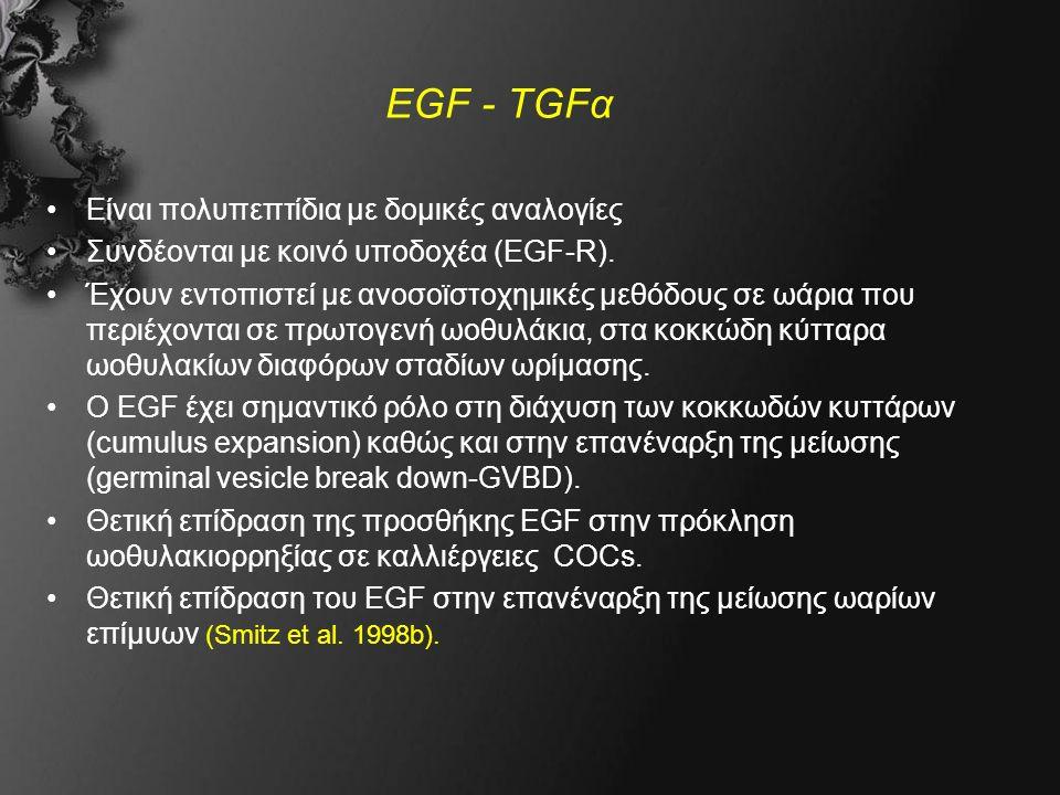 EGF - TGFα Είναι πολυπεπτίδια με δομικές αναλογίες Συνδέονται με κοινό υποδοχέα (EGF-R).