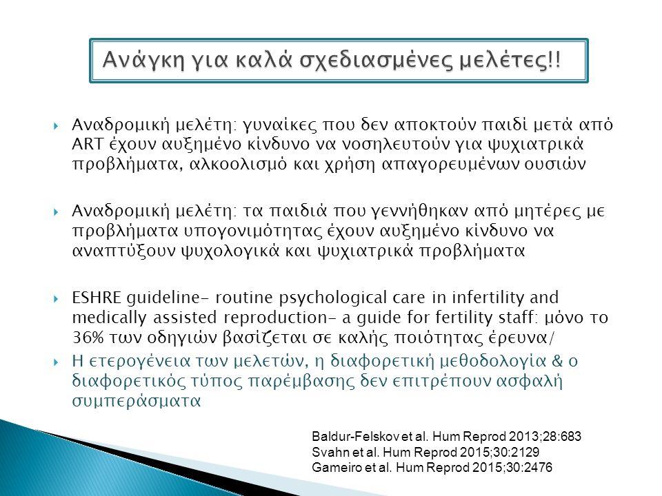  Αναδρομική μελέτη: γυναίκες που δεν αποκτούν παιδί μετά από ART έχουν αυξημένο κίνδυνο να νοσηλευτούν για ψυχιατρικά προβλήματα, αλκοολισμό και χρήση απαγορευμένων ουσιών  Αναδρομική μελέτη: τα παιδιά που γεννήθηκαν από μητέρες με προβλήματα υπογονιμότητας έχουν αυξημένο κίνδυνο να αναπτύξουν ψυχολογικά και ψυχιατρικά προβλήματα  ESHRE guideline- routine psychological care in infertility and medically assisted reproduction- a guide for fertility staff: μόνο το 36% των οδηγιών βασίζεται σε καλής ποιότητας έρευνα/  Η ετερογένεια των μελετών, η διαφορετική μεθοδολογία & ο διαφορετικός τύπος παρέμβασης δεν επιτρέπουν ασφαλή συμπεράσματα Baldur-Felskov et al.