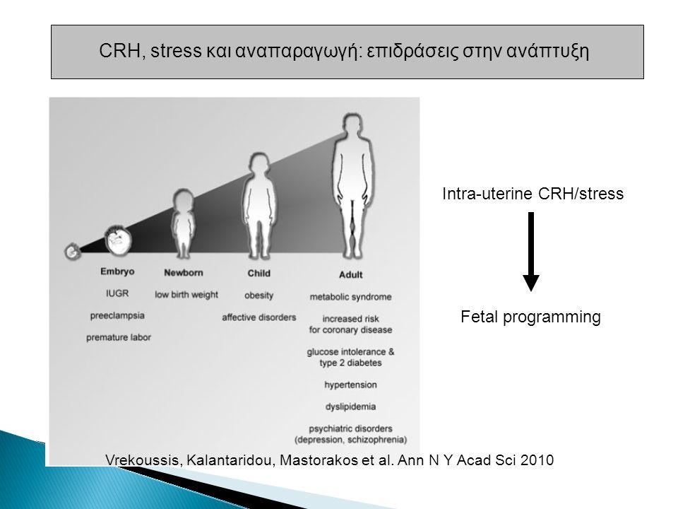 CRH, stress και αναπαραγωγή: επιδράσεις στην ανάπτυξη Intra-uterine CRH/stress Fetal programming Vrekoussis, Kalantaridou, Mastorakos et al.