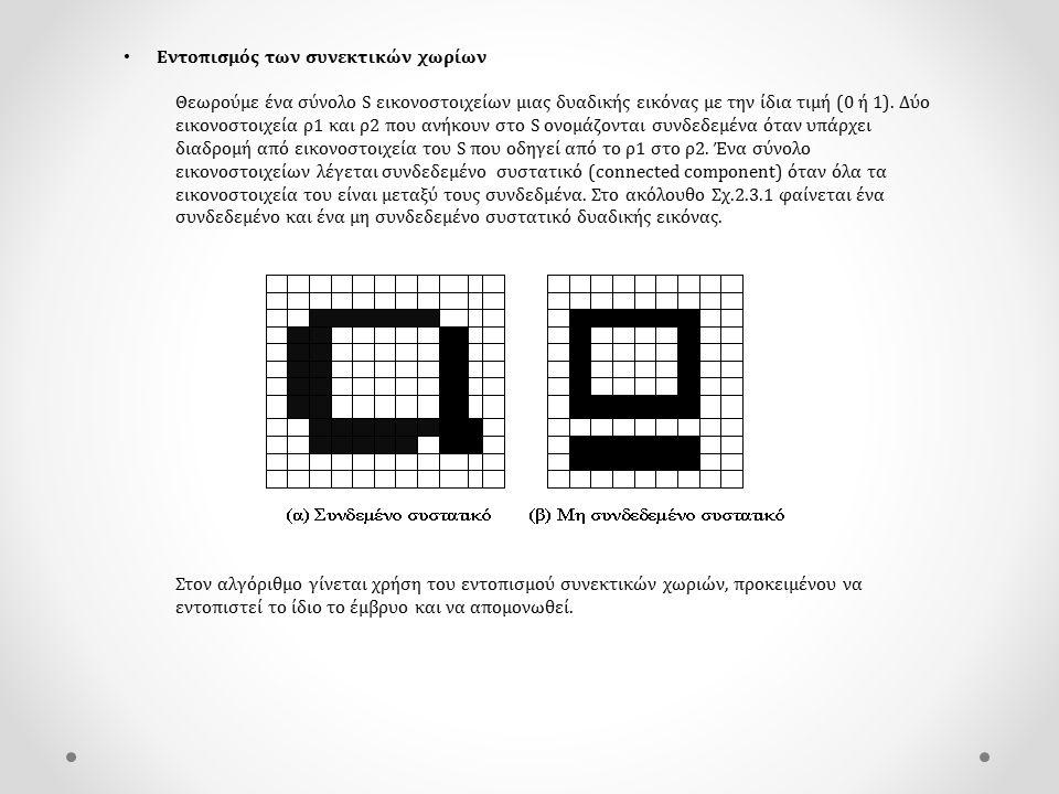Εντοπισμός των συνεκτικών χωρίων Θεωρούμε ένα σύνολο S εικονοστοιχείων μιας δυαδικής εικόνας με την ίδια τιμή (0 ή 1). Δύο εικονοστοιχεία ρ1 και ρ2 πο