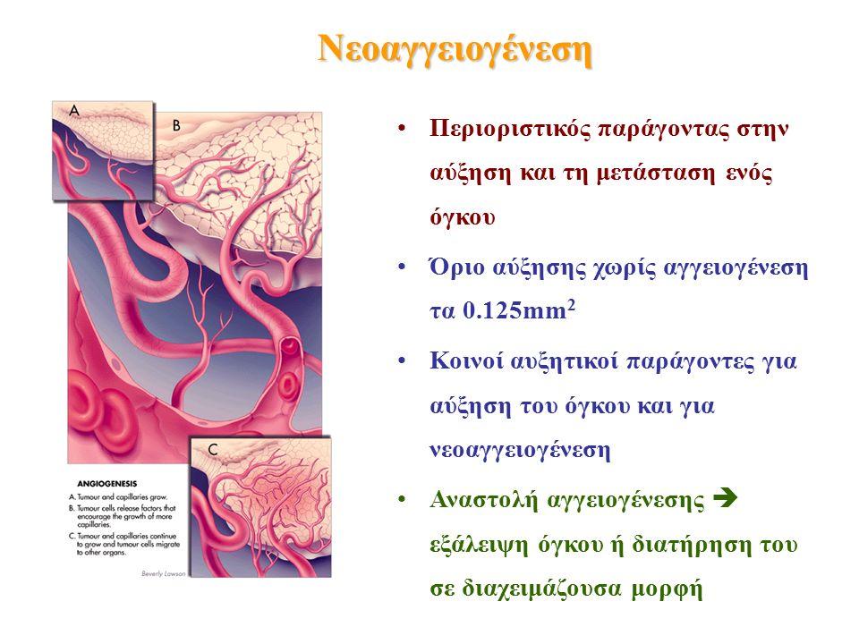 Νεοαγγειογένεση Περιοριστικός παράγοντας στην αύξηση και τη μετάσταση ενός όγκου Όριο αύξησης χωρίς αγγειογένεση τα 0.125mm 2 Κοινοί αυξητικοί παράγοντες για αύξηση του όγκου και για νεοαγγειογένεση Αναστολή αγγειογένεσης  εξάλειψη όγκου ή διατήρηση του σε διαχειμάζουσα μορφή
