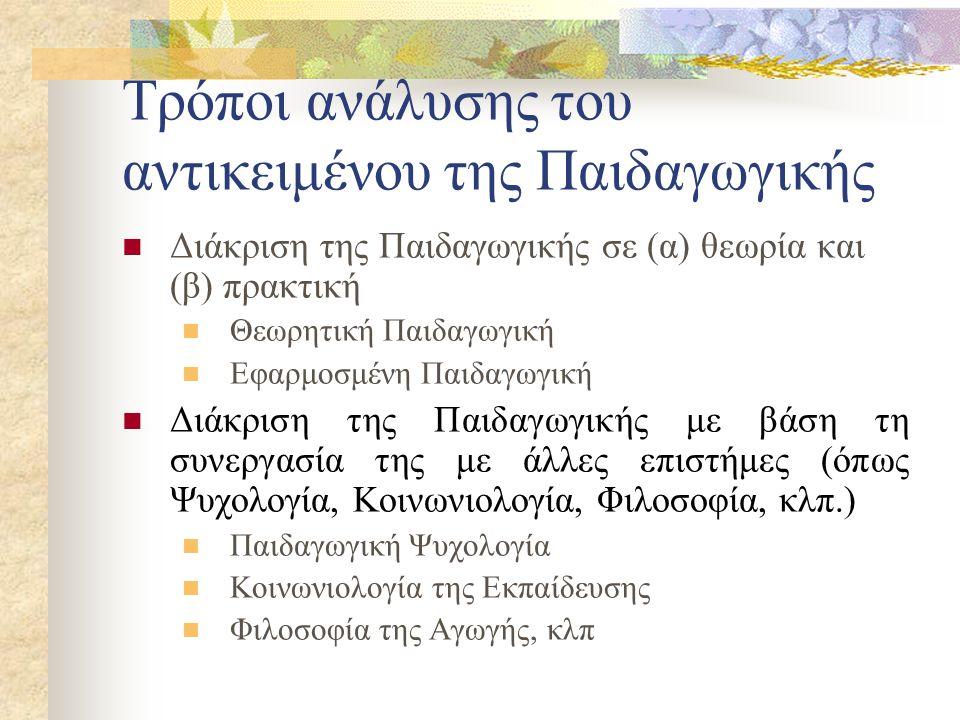 Τρόποι ανάλυσης του αντικειμένου της Παιδαγωγικής Διάκριση της Παιδαγωγικής σε (α) θεωρία και (β) πρακτική Θεωρητική Παιδαγωγική Εφαρμοσμένη Παιδαγωγική Διάκριση της Παιδαγωγικής με βάση τη συνεργασία της με άλλες επιστήμες (όπως Ψυχολογία, Κοινωνιολογία, Φιλοσοφία, κλπ.) Παιδαγωγική Ψυχολογία Κοινωνιολογία της Εκπαίδευσης Φιλοσοφία της Αγωγής, κλπ