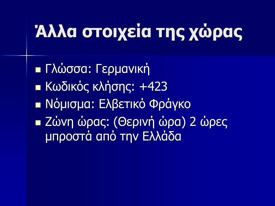 Άλλα στοιχεία της χώρας Γλώσσα: Γερμανική Γλώσσα: Γερμανική Κωδικός κλήσης: +423 Κωδικός κλήσης: +423 Νόμισμα: Ελβετικό Φράγκο Νόμισμα: Ελβετικό Φράγκο Ζώνη ώρας: (Θερινή ώρα) 2 ώρες μπροστά από την Ελλάδα Ζώνη ώρας: (Θερινή ώρα) 2 ώρες μπροστά από την Ελλάδα