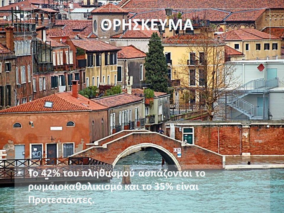 ΘΡΗΣΚΕΥΜΑ Το 42% του πληθυσμού ασπάζονται το ρωμαιοκαθολικισμό και το 35% είναι Προτεστάντες.
