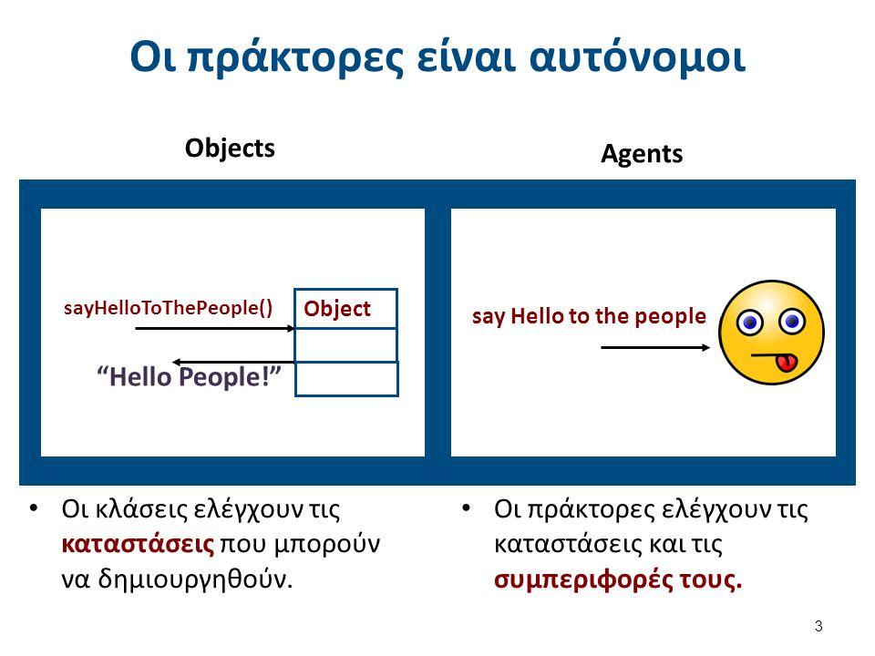 """Οι πράκτορες είναι αυτόνομοι Objects 3 Object sayHelloToThePeople() say Hello to the people """"Hello People!"""" Agents Οι κλάσεις ελέγχουν τις καταστάσεις"""