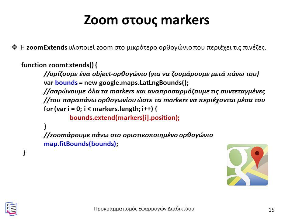 Zoom στους markers  Η zoomExtends υλοποιεί zoom στο μικρότερο ορθογώνιο που περιέχει τις πινέζες.