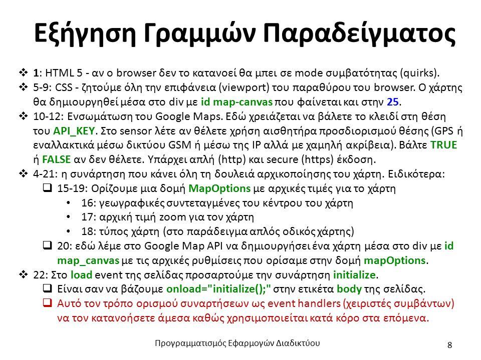 Εξήγηση Γραμμών Παραδείγματος  1: HTML 5 - αν ο browser δεν το κατανοεί θα μπει σε mode συμβατότητας (quirks).
