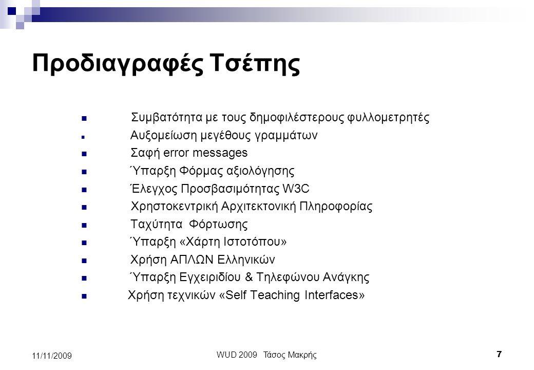 Δεν είναι απλώς «Προδιαγραφές» Είναι μια νέα γλώσσα Είναι ένα εργαλείο μέτρησης WUD 2009 Τάσος Μακρής 6 11/11/2009
