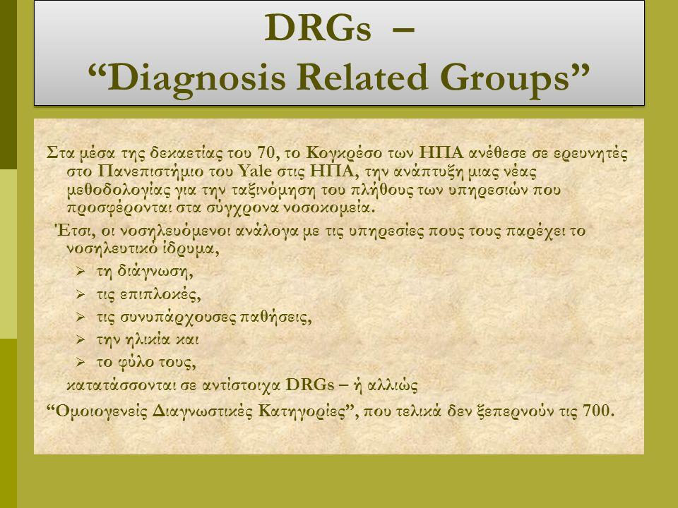 DRGs – Diagnosis Related Groups Στα μέσα της δεκαετίας του 70, το Κογκρέσο των ΗΠΑ ανέθεσε σε ερευνητές στο Πανεπιστήμιο του Yale στις ΗΠΑ, την ανάπτυξη μιας νέας μεθοδολογίας για την ταξινόμηση του πλήθους των υπηρεσιών που προσφέρονται στα σύγχρονα νοσοκομεία.