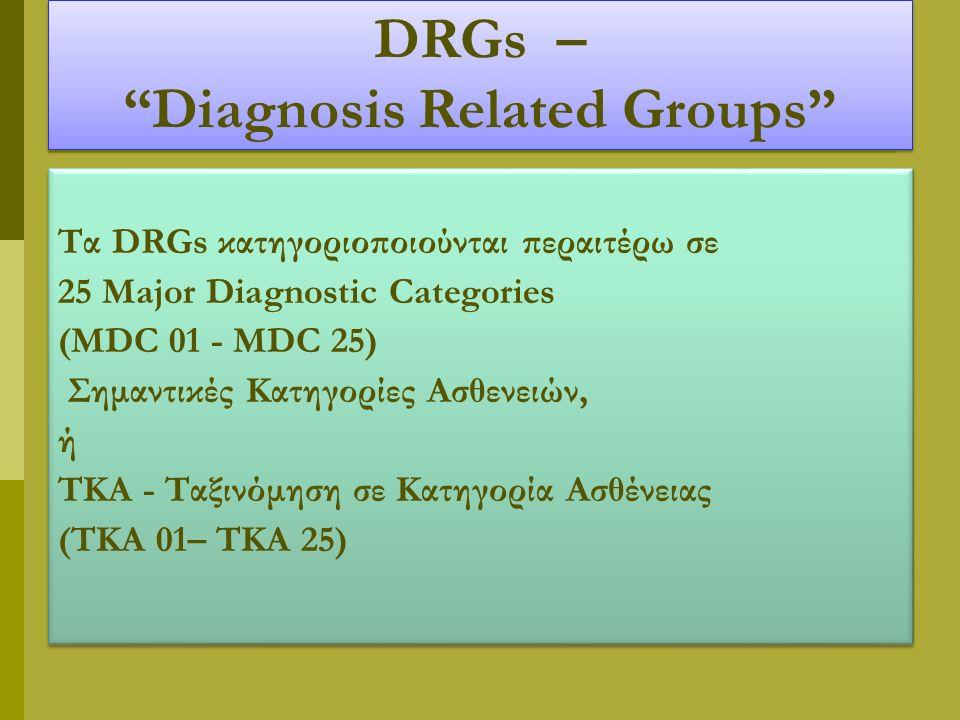 DRGs – Diagnosis Related Groups Τα DRGs κατηγοριοποιούνται περαιτέρω σε 25 Major Diagnostic Categories (MDC 01 - MDC 25) Σημαντικές Κατηγορίες Ασθενειών, ή ΤΚΑ - Ταξινόμηση σε Κατηγορία Ασθένειας (ΤΚΑ 01– ΤΚΑ 25) Τα DRGs κατηγοριοποιούνται περαιτέρω σε 25 Major Diagnostic Categories (MDC 01 - MDC 25) Σημαντικές Κατηγορίες Ασθενειών, ή ΤΚΑ - Ταξινόμηση σε Κατηγορία Ασθένειας (ΤΚΑ 01– ΤΚΑ 25)