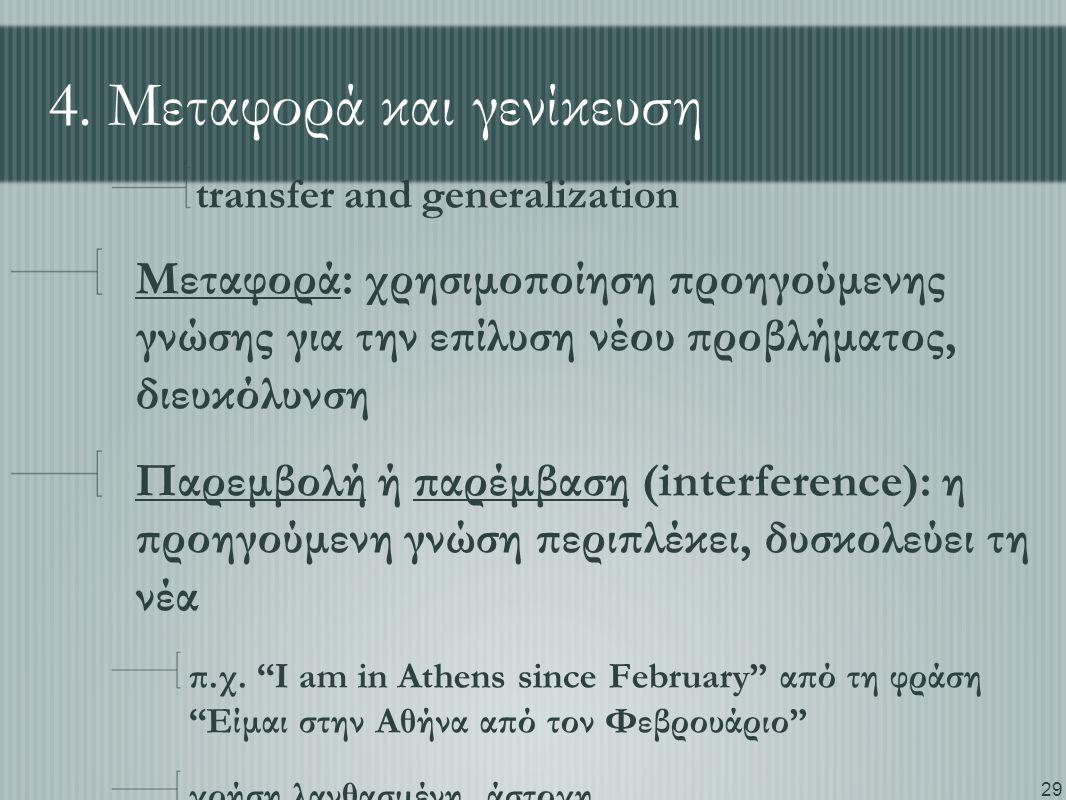 29 4. Μεταφορά και γενίκευση transfer and generalization Μεταφορά: χρησιμοποίηση προηγούμενης γνώσης για την επίλυση νέου προβλήματος, διευκόλυνση Παρ