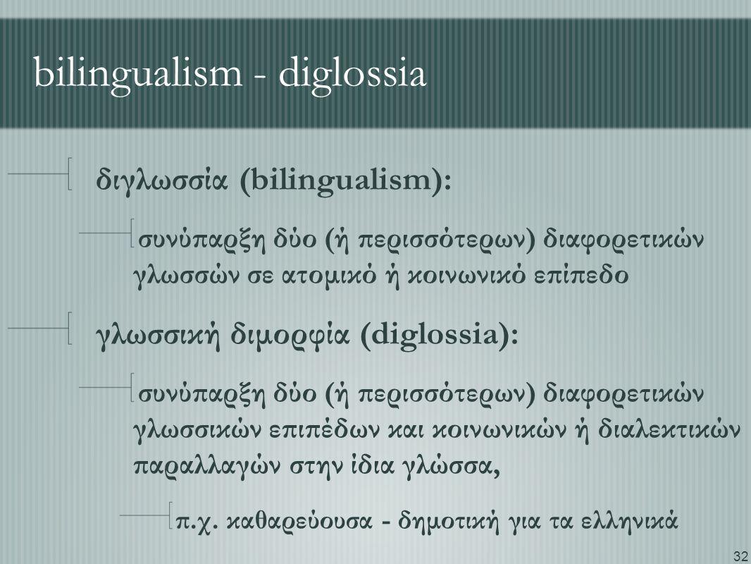 32 bilingualism - diglossia διγλωσσία (bilingualism): συνύπαρξη δύο (ή περισσότερων) διαφορετικών γλωσσών σε ατομικό ή κοινωνικό επίπεδο γλωσσική διμορφία (diglossia): συνύπαρξη δύο (ή περισσότερων) διαφορετικών γλωσσικών επιπέδων και κοινωνικών ή διαλεκτικών παραλλαγών στην ίδια γλώσσα, π.χ.