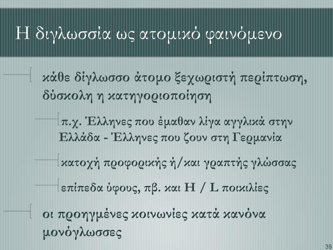 39 Η διγλωσσία ως ατομικό φαινόμενο κάθε δίγλωσσο άτομο ξεχωριστή περίπτωση, δύσκολη η κατηγοριοποίηση π.χ. Έλληνες που έμαθαν λίγα αγγλικά στην Ελλάδ