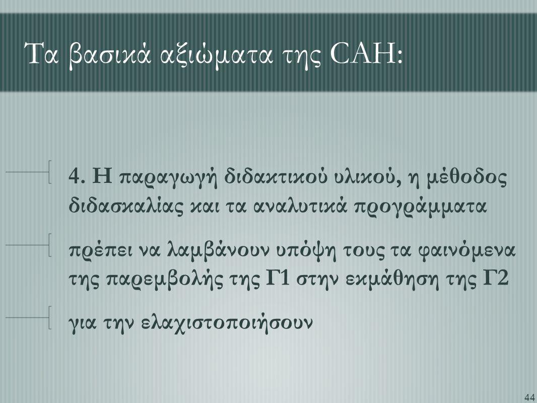 44 Τα βασικά αξιώματα της CAH: 4. Η παραγωγή διδακτικού υλικού, η μέθοδος διδασκαλίας και τα αναλυτικά προγράμματα πρέπει να λαμβάνουν υπόψη τους τα φ