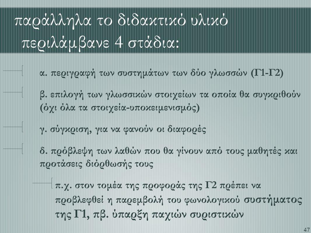 47 παράλληλα το διδακτικό υλικό περιλάμβανε 4 στάδια: α. περιγραφή των συστημάτων των δύο γλωσσών (Γ1-Γ2) β. επιλογή των γλωσσικών στοιχείων τα οποία