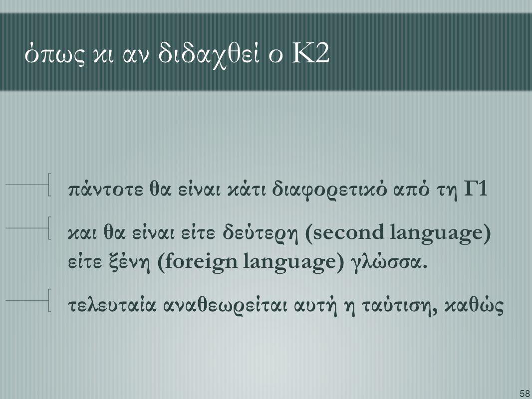 58 όπως κι αν διδαχθεί ο Κ2 πάντοτε θα είναι κάτι διαφορετικό από τη Γ1 και θα είναι είτε δεύτερη (second language) είτε ξένη (foreign language) γλώσσ
