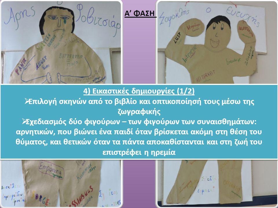 4) Εικαστικές δημιουργίες (1/2)  Επιλογή σκηνών από το βιβλίο και οπτικοποίησή τους μέσω της ζωγραφικής  Σχεδιασμός δύο φιγούρων – των φιγούρων των συναισθημάτων: αρνητικών, που βιώνει ένα παιδί όταν βρίσκεται ακόμη στη θέση του θύματος, και θετικών όταν τα πάντα αποκαθίστανται και στη ζωή του επιστρέφει η ηρεμία 4) Εικαστικές δημιουργίες (1/2)  Επιλογή σκηνών από το βιβλίο και οπτικοποίησή τους μέσω της ζωγραφικής  Σχεδιασμός δύο φιγούρων – των φιγούρων των συναισθημάτων: αρνητικών, που βιώνει ένα παιδί όταν βρίσκεται ακόμη στη θέση του θύματος, και θετικών όταν τα πάντα αποκαθίστανται και στη ζωή του επιστρέφει η ηρεμία Α' ΦΑΣΗ