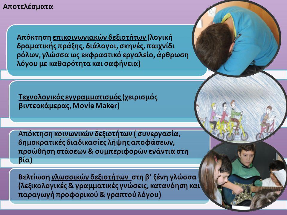 Αποτελέσματα Απόκτηση επικοινωνιακών δεξιοτήτων (λογική δραματικής πράξης, διάλογοι, σκηνές, παιχνίδι ρόλων, γλώσσα ως εκφραστικό εργαλείο, άρθρωση λόγου με καθαρότητα και σαφήνεια) Τεχνολογικός εγγραμματισμός (χειρισμός βιντεοκάμερας, Movie Maker) Aπόκτηση κοινωνικών δεξιοτήτων ( συνεργασία, δημοκρατικές διαδικασίες λήψης αποφάσεων, προώθηση στάσεων & συμπεριφορών ενάντια στη βία) Βελτίωση γλωσσικών δεξιοτήτων στη β' ξένη γλώσσα (λεξικολογικές & γραμματικές γνώσεις, κατανόηση και παραγωγή προφορικού & γραπτού λόγου)