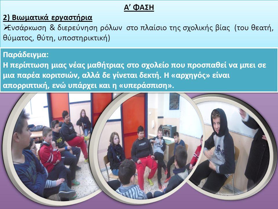 Α' ΦΑΣΗ 2) Βιωματικά εργαστήρια  Ενσάρκωση & διερεύνηση ρόλων στο πλαίσιο της σχολικής βίας (του θεατή, θύματος, θύτη, υποστηρικτική) Α' ΦΑΣΗ 2) Βιωματικά εργαστήρια  Ενσάρκωση & διερεύνηση ρόλων στο πλαίσιο της σχολικής βίας (του θεατή, θύματος, θύτη, υποστηρικτική) Παράδειγμα: Η περίπτωση μιας νέας μαθήτριας στο σχολείο που προσπαθεί να μπει σε μια παρέα κοριτσιών, αλλά δε γίνεται δεκτή.
