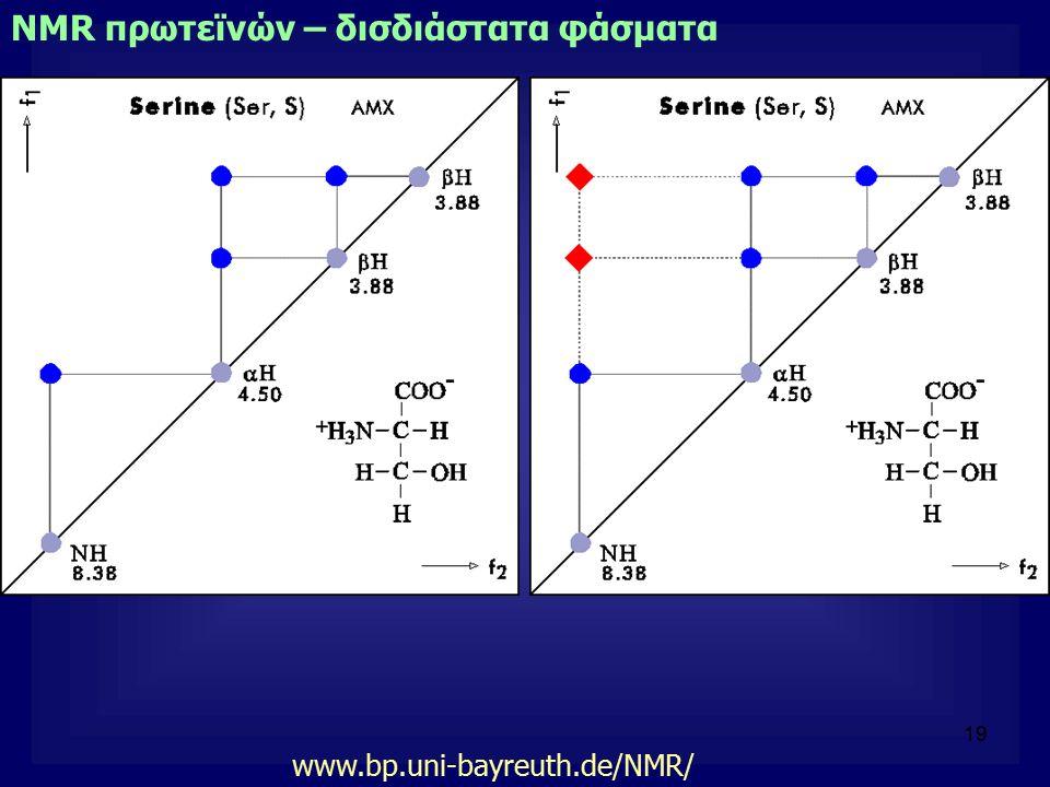 19 NMR πρωτεϊνών – δισδιάστατα φάσματα www.bp.uni-bayreuth.de/NMR/
