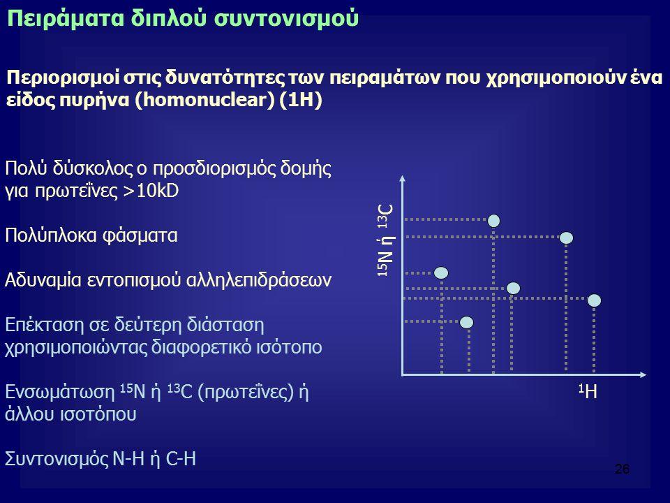 26 Πολύ δύσκολος ο προσδιορισμός δομής για πρωτεΐνες >10kD Πολύπλοκα φάσματα Αδυναμία εντοπισμού αλληλεπιδράσεων Επέκταση σε δεύτερη διάσταση χρησιμοπ
