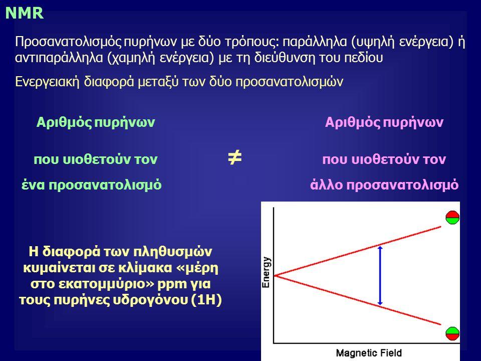 3 NMR Προσανατολισμός πυρήνων με δύο τρόπους: παράλληλα (υψηλή ενέργεια) ή αντιπαράλληλα (χαμηλή ενέργεια) με τη διεύθυνση του πεδίου Ενεργειακή διαφορά μεταξύ των δύο προσανατολισμών Αριθμός πυρήνων που υιοθετούν τον ≠ που υιοθετούν τον ένα προσανατολισμό άλλο προσανατολισμό Η διαφορά των πληθυσμών κυμαίνεται σε κλίμακα «μέρη στο εκατομμύριο» ppm για τους πυρήνες υδρογόνου (1Η)