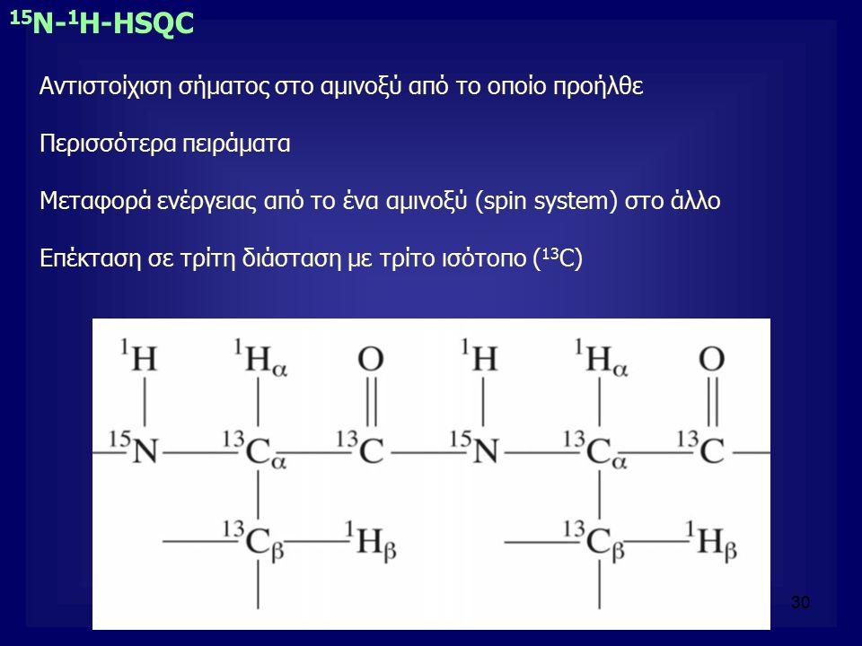 30 Αντιστοίχιση σήματος στο αμινοξύ από το οποίο προήλθε Περισσότερα πειράματα Μεταφορά ενέργειας από το ένα αμινοξύ (spin system) στο άλλο Επέκταση σ